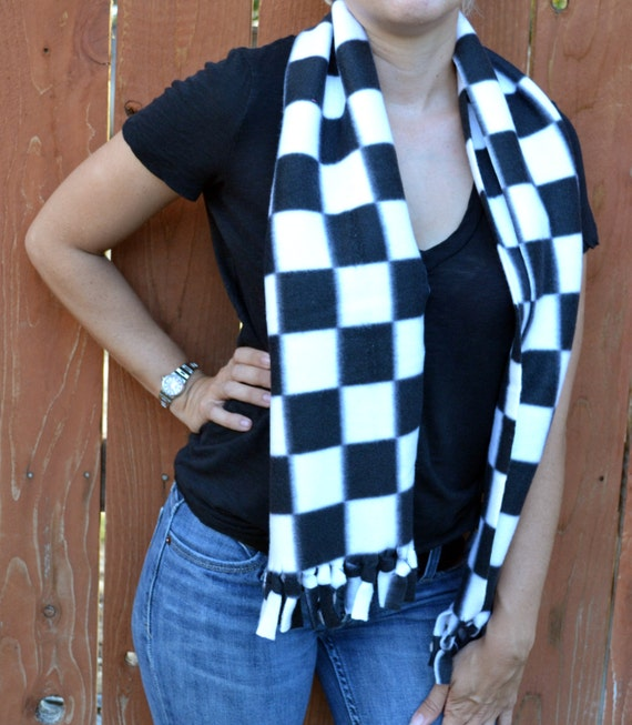 unisex scarf fleece no sew scarf neck warmer in black and