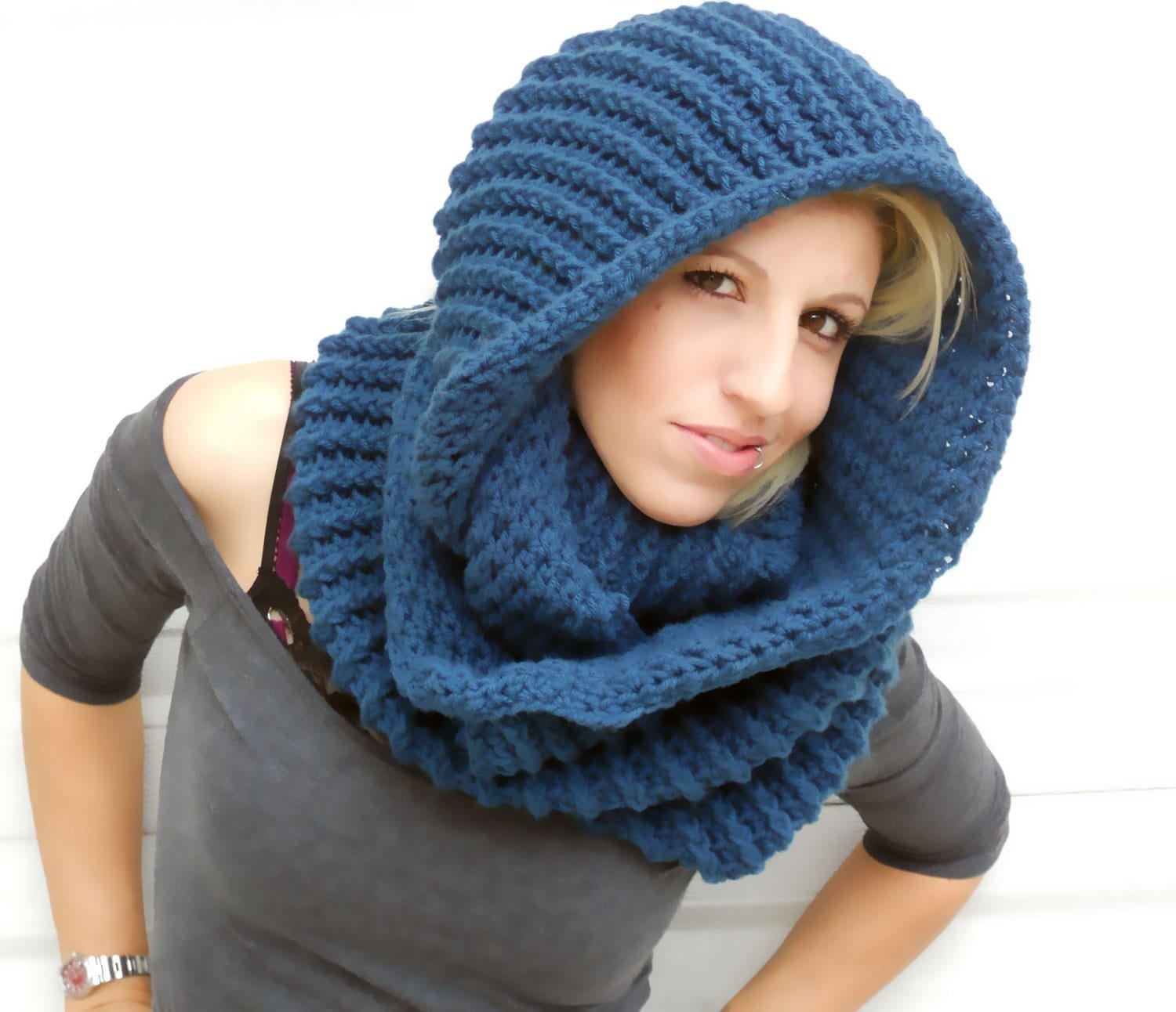 Serenity Blue Cowl Winter Cowl Crochet Cowl Infinity Scarf