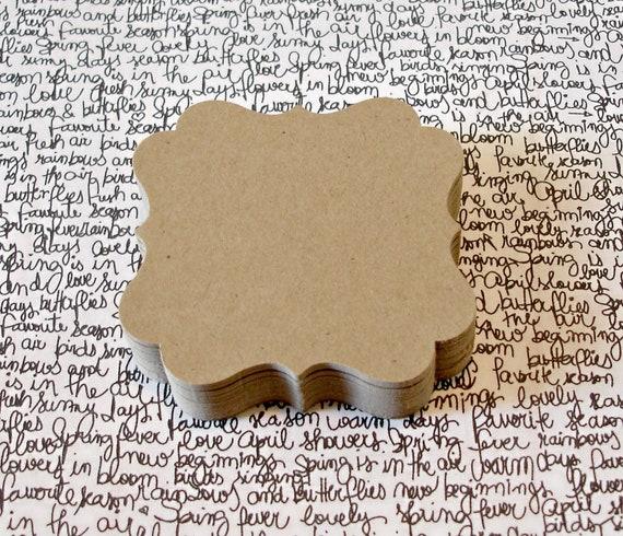 Kraft flourish square tags Top note journaling spot scrapbooking die cut 3 dozen