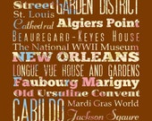 New Orleans, Louisiana, Typography Poster/Bus/ Subway Roll Art 16X20-Floral Series-New Orleans' Attractions Wall Art Decoration-LHA-174-C01