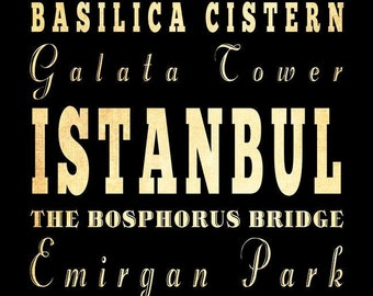 Istanbul, Turkey, Typography Art Poster / Bus/ Transit / Subway Roll Art 18X24-Istanbul's Attractions Wall Art Decoration-LHA-250