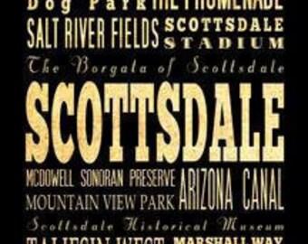 Scottsdale, Arizona, Typography Art Poster / Bus/ Transit / Subway Roll Art 18X24-Scottsdale's Attractions WallArtDecoration-LHA-284