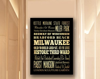 Large Typography Art Canvas of Milwaukee, Wisconsin - Subway Roll Art 24X30 - Milwaukee's Attractions Wall Art Decoration -  LHA-189