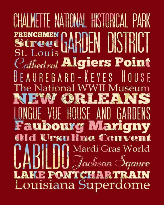 New Orleans, Louisiana, Typography Poster/Bus/ Subway Roll Art 1620-Floral Series-New Orleans' Attractions Wall Art Decoration-LHA-174-C08
