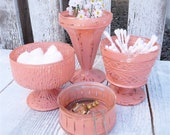 Pink Painted Jars - Set of 4, Shabby Chic SOFT PINK glass containers