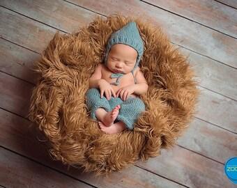 newborn knit kit, pants and hat