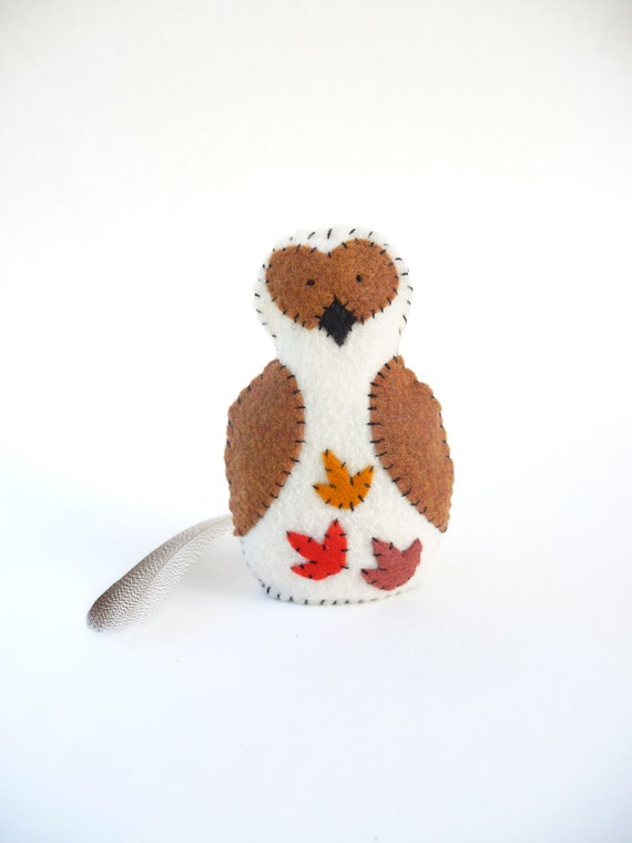 Autumn leaves owl soft sculpture made from felt and fiber