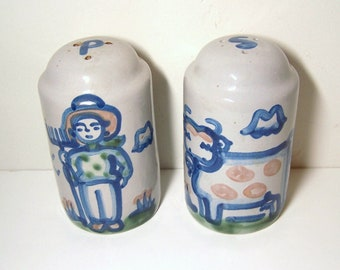 SALT & PEPPER Shakers - Handmade and Hand Painted Stoneware - The Farmer and His Cow - Folk Art Style - Signed M.A. Hadley