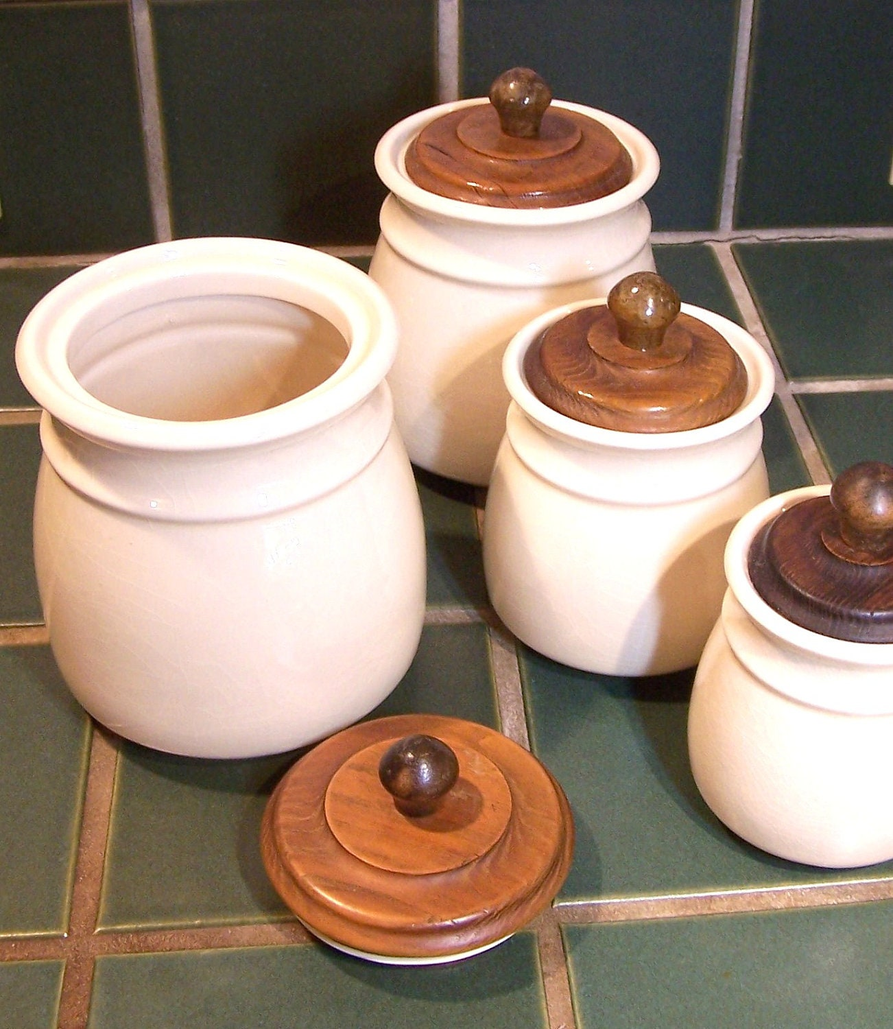 Kitchen Canisters Ceramic Sets: Vintage Ceramic Canister Set With Wooden Lids Creamy Beige