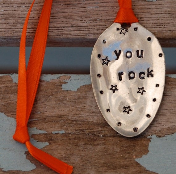 YOU ROCK hand stamped Vintage Spoon Ornament with dots and Stars Orange Ribbon
