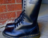 Vintage Black Doc Martens Boots 14-Eye Tall Made in England UK 5 US 7