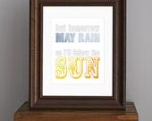Beatles Typography Art Print  - I'll Follow The Sun - cheerful saying, inspirational decor, modern nursery - yellow, gray, blue - 8 x 10