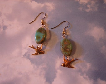 Pierced Earrings Turquoise Glass and Brass Birds Dreaming of Spring