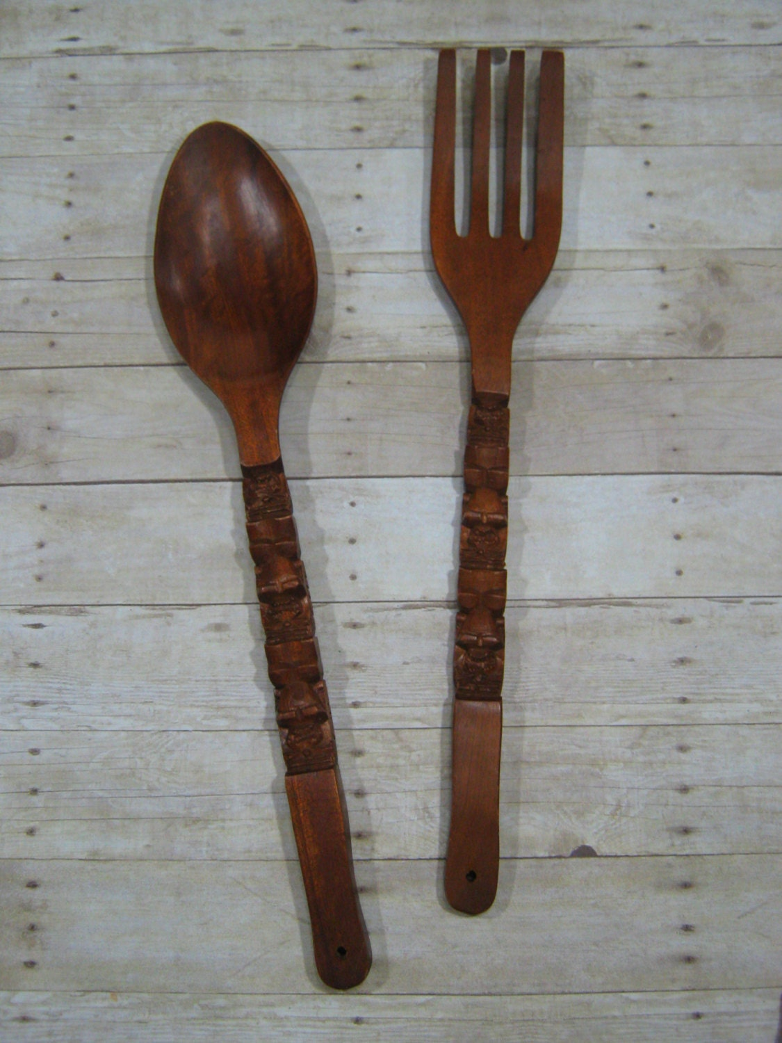 items similar to extra large wooden spoon and fork vintage wall hanging kitsch tiki kitchen. Black Bedroom Furniture Sets. Home Design Ideas