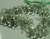 Green Amethyst Faceted Tear Drop Briolettes, 8 - 10 mm, 6 beads GM0103FD/10/6
