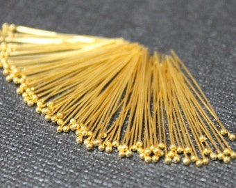 Beautiful Vermeil Ball Headpins, 24k gold over 925 Sterling Silver, Headpins, Ball pins, 26 gauge, ga , g, 30mm, 50 pcs (BP2630VM)