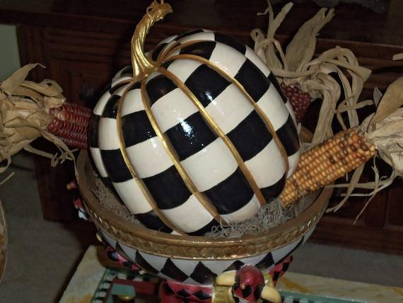 Whimsical French Farmhouse Pumpkin Decor Hand Painted Black White Checkered Halloween Thanksgiving
