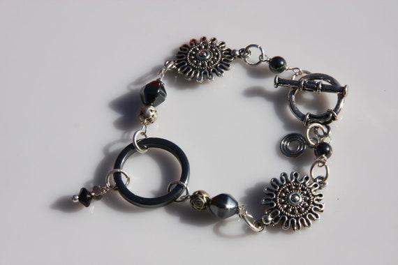 black bracelet, silver bracelet, sale bracelet, charm bracelet, Sale