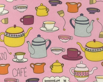 SALE - Robert Kaufman - Metro Cafe Collection - Coffee and Tea Time - Pink - Pink Light Design