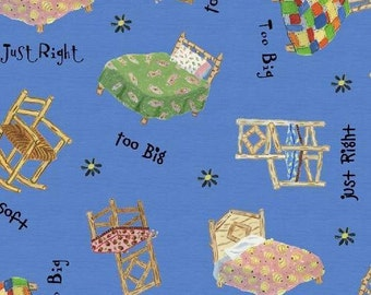 SALE - The Three Bears Collection - Chairs and Beds - Blue - Windham Fabrics