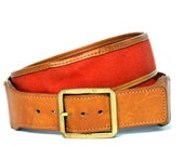 Vintage 70s Orange Canvas Brown Leather Belt 34 M L