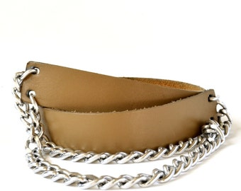 Vintage 80s Silver Chain Nude Leather Belt S M L Vtg Brown Leather Tan Belt Small Medium