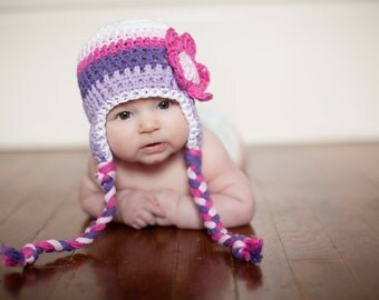 baby girls hat, Crochet baby hat, baby girl hat, baby hat, hat with flower