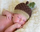 Autumn Acorn hat with leaf, newborn, 6-9 months, 12-24 months, photo prop, baby, fall, nut, Crochet By Allie Original Design - crochetbyallie