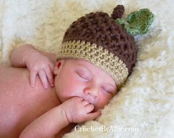 Autumn Acorn hat with leaf, photo prop, baby, fall, nut, Crochet By Allie Original Design