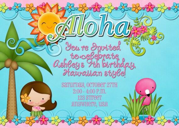 Hawaiian Invitation Cards with awesome invitation sample