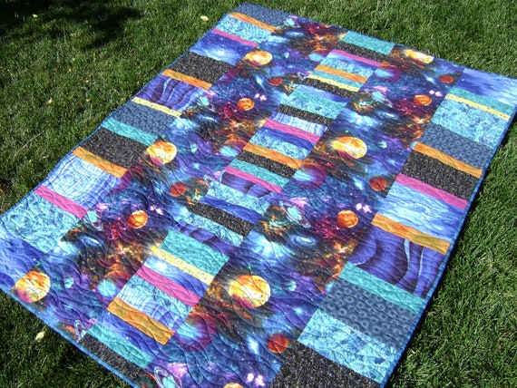 Outer Space Quilt in Blues, Turquoise, Black, Orange and Purples - Handmade Kid's Napping Blanket for the Little Astronaut in your Life