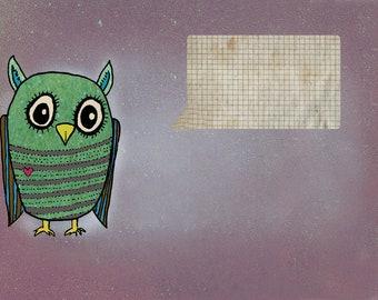 the owl says....                    postcard