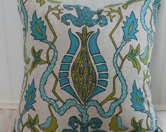 IN STOCK / Turquoise and Citron Ikat Pillow Cover / 18 X 18 / Designer fabric, same fabric both sides