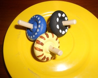 Set of  Three Assorted  Wood Spinner Tops   or 12 for 10.00 NEW LOWER PRICE