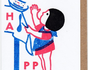 HAPPY - Gocco Printed Birthday Card