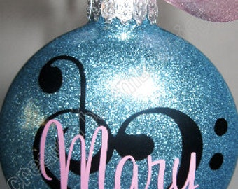 Great Gift Idea for Musician / Music Lover. Personalized Ornament for the Music Lover, Glass