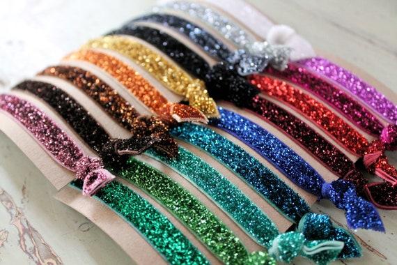 Glitter Elastic Hair Ties - Choose 3 colors - Knotted Hair Ties - Ponytail Holders