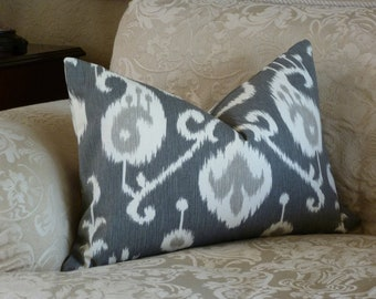 Throw Pillow Cover -  Upholstery Fabric - Pewter/Cream  Accent Pillow - Ikat