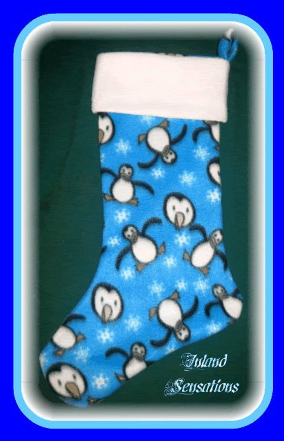 Penguins & Snowflakes Blue Holiday Christmas Stocking w/ White Cuff