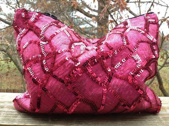 SALE/LAST ONE - Puzzled Pink Sequin Statement Clutch