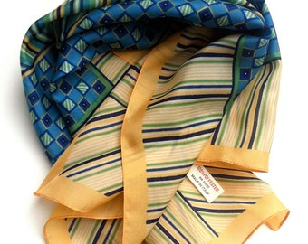 Vintage Stripes and Squares Headband Neck Tie Scarf. Lightweight Scarf FREE SHIPPING