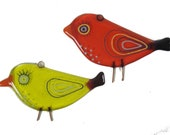 Pair of Fused Glass Bird Suncatchers.