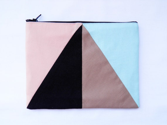 "Large zipper pouch 6""X8""  geometry color block in peach, black, camel and iced blue"