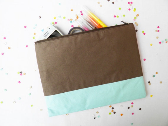XLARGE zipper pouch 10 x 8 inch geometry color brown and iced blue
