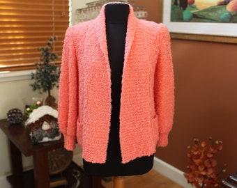 Women's Vintage Pink Orange Cardigan
