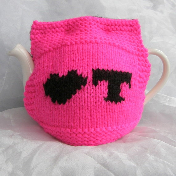 Black and Bright Pink Love Tea Teapot Cosy