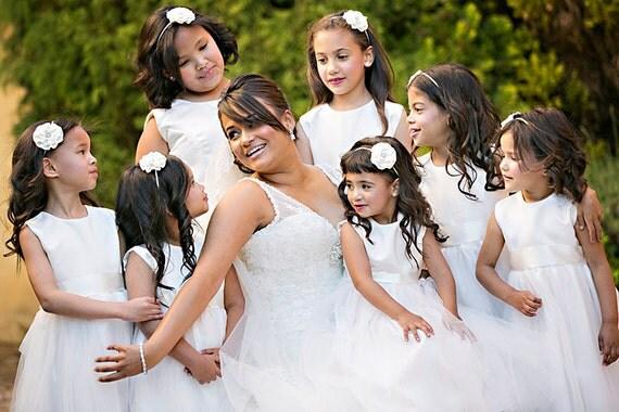 Ivory Satin Flower Headband  - Baby Headband - Girls Hair Clip - Baby Dedication - Flower Girls - Bridal Party