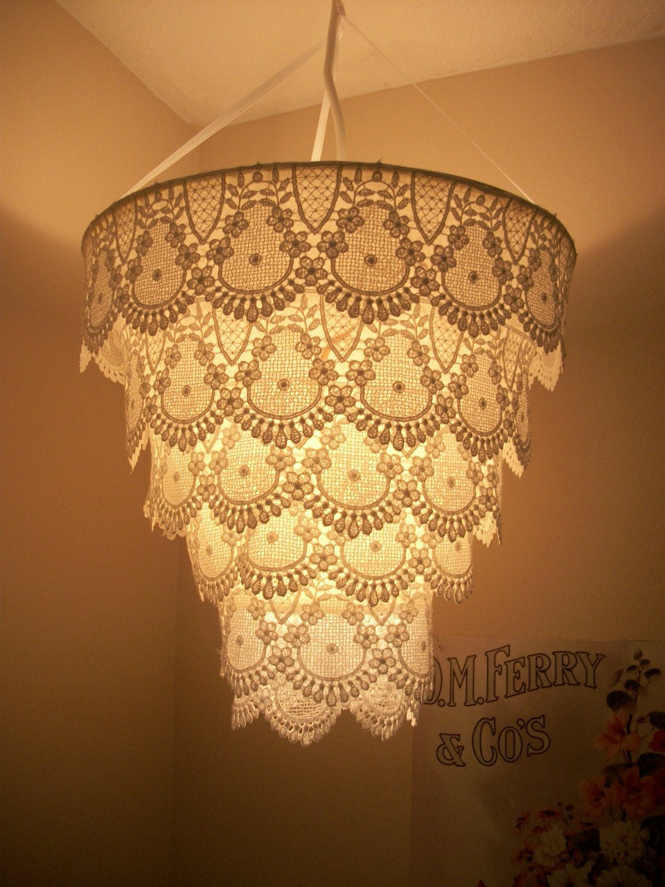 venise lace faux chandelier pendant lamp shade by cokiethebaby. Black Bedroom Furniture Sets. Home Design Ideas