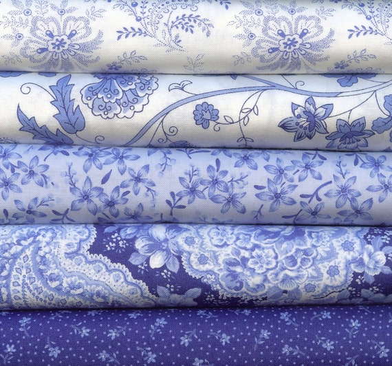 Summer Breeze II Blue and White by Sentimental Studios for Moda 5 Fat Quarters 100 Percent Cotton Quilting Fabric