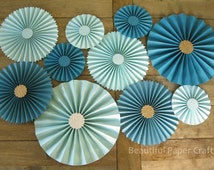 10pc Aqua Teal Rosettes, Paper Fans Wedding, Pinwheel Backdrop Decor/Paper Rosettes, Candy Buffet Decorations, Turquoise Wedding